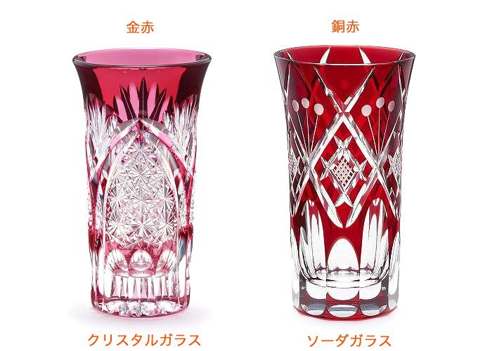 クリスタルガラスとソーダガラス